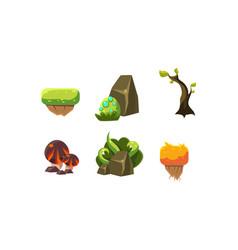 set of cartoon landscape elements for vector image