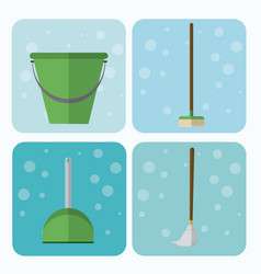 set of cleaning appliances vector image