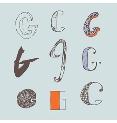 set of colorful alphabet letters G vector image