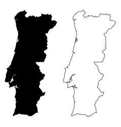 simple only sharp corners map portugal drawing vector image