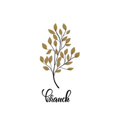 simple tree branch with gold leaves plant vector image