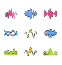 Sound and audio waves color icons set voice vector