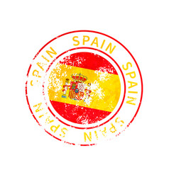 spain sign vintage grunge imprint with flag on vector image