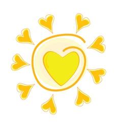 Sun with heart vector