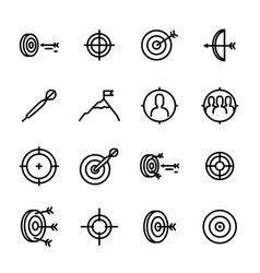 target signs black thin line icon set vector image
