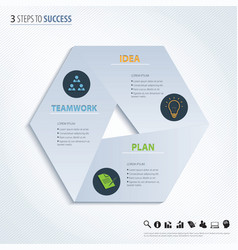 Three steps to success design element vector image