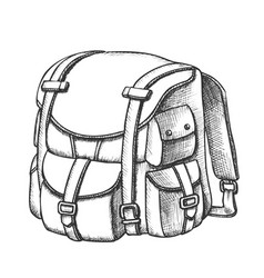 tourist travel backpack suitcase monochrome vector image