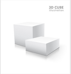 two 3d cubes isolated on white background vector image