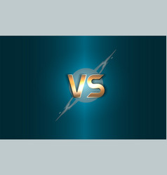 versus background gold letters logo on the vector image
