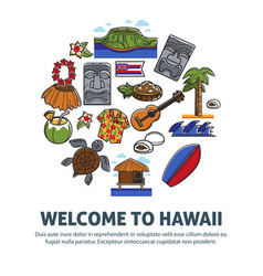 welcome to hawaii promo poster with national vector image