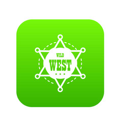 wild west icon green vector image