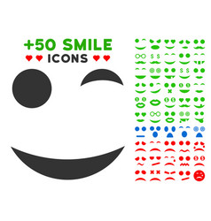 wink smile icon with bonus mood collection vector image