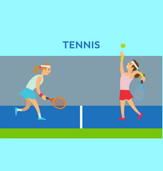 women character playing tennis practice vector image
