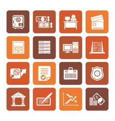 Flat bank business finance and office icons vector image vector image