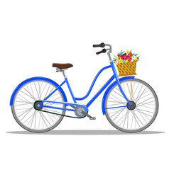 bicycle with basket of flowers vector image