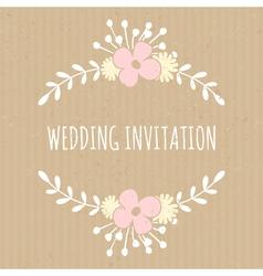Flowers and laurels romantic wedding design card vector