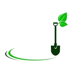 garden background with shovel and green leaf vector image vector image