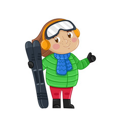 little girl in winter clothes holding skis vector image vector image