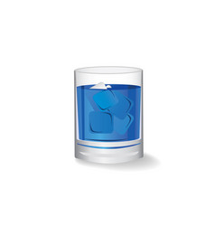 pure water in glass with ice cube on white vector image vector image