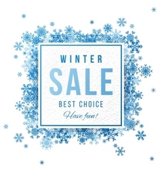 Sale banner with blue snowflakes vector image vector image