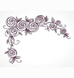 stylized rose flowers bouquet branch of flowers vector image vector image