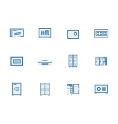 Blue safes and lockers flat icons vector image
