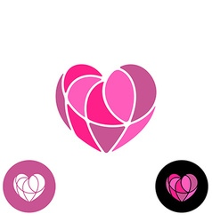 Heart divided with thin wires elegant logo vector image vector image