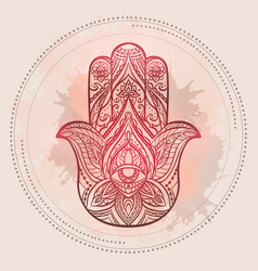 henna of hamsa with boho pattern and vector image vector image