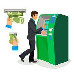 man near atm holding credit card and its usage vector image vector image