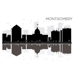 montgomery city skyline black and white vector image vector image