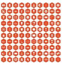 100 stadium icons hexagon orange vector image vector image