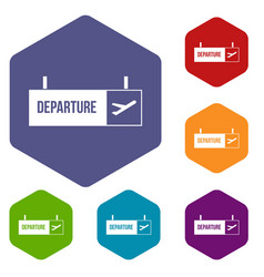 airport departure sign icons set vector image
