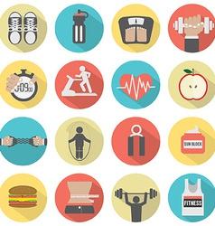 Modern flat design fitness icon set vector