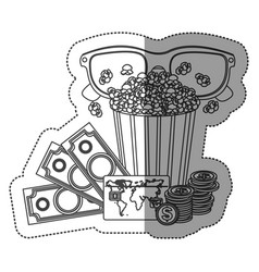 monochrome contour sticker with popcorn cup and vector image vector image
