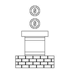 pixeled coin treasure score linear vector image