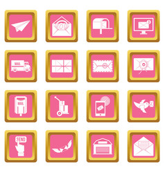 poste service icons pink vector image