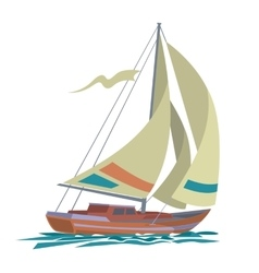 Sea yacht with olive sails and water vector image vector image