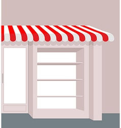 Storefront with striped roof Red and white stripes vector image