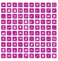 100 activity icons set grunge pink vector