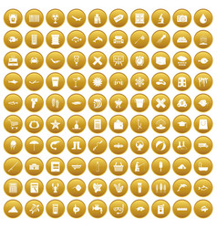 100 fish icons set gold vector