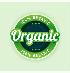 100 pure and organic label or sticker design vector