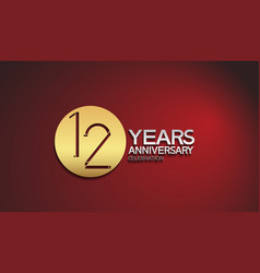 12 years anniversary logotype with golden circle vector