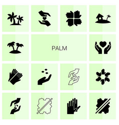 14 palm icons vector image
