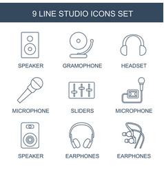 9 studio icons vector image