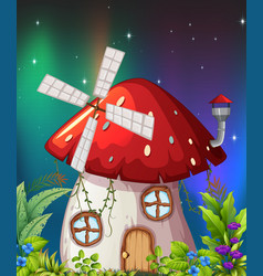a mushroom house in nature vector image