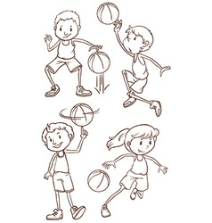 A simple sketch of the people playing basketball vector image