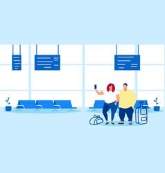 Airport passengers fat man woman taking selfie on vector