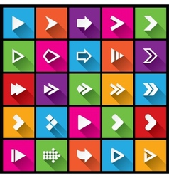 Arrow sign icon set Simple square shape buttons vector