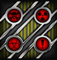 background of metal with signs of danger vector image
