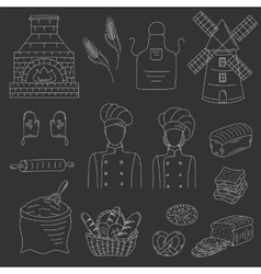 Bakery collection with bakers doodle style vector